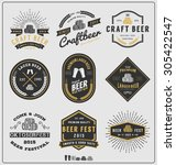 set of vintage beer badge logo... | Shutterstock .eps vector #305422547