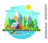 summer landscape  tent and... | Shutterstock .eps vector #305423393