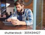 businessman working on digital...   Shutterstock . vector #305434427