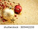 christmas balls on golden... | Shutterstock . vector #305442233