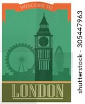 retro style poster with london... | Shutterstock .eps vector #305447963