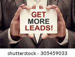 get more leads  card in male...   Shutterstock . vector #305459033