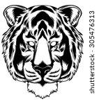 tiger art tattoo | Shutterstock .eps vector #305476313