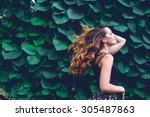 young woman  against background ... | Shutterstock . vector #305487863