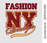 new york fashion  floral font ... | Shutterstock .eps vector #305531483