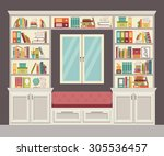 the window seat and wall of... | Shutterstock .eps vector #305536457