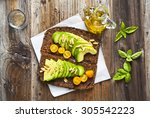 Sandwich With Rye Bread On Old...