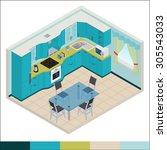vector isometric kitchen blue... | Shutterstock .eps vector #305543033