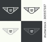 badge and shield with wings.... | Shutterstock .eps vector #305557337