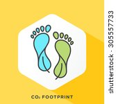 carbon footprint icon with dark ... | Shutterstock .eps vector #305557733