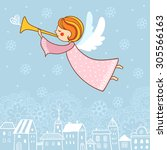 childish merry christmas card...   Shutterstock .eps vector #305566163