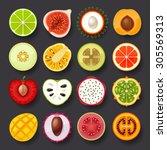 fruit icon set 2 | Shutterstock .eps vector #305569313