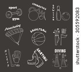 hand drawn doodle sport games... | Shutterstock .eps vector #305592083