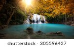waterfall in autumn forest with ... | Shutterstock . vector #305596427