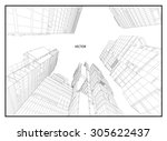 perspective 3d wireframe of... | Shutterstock .eps vector #305622437