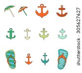 set of objects associated with...   Shutterstock . vector #305627627