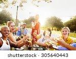 diverse neighbors drinking... | Shutterstock . vector #305640443