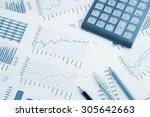 business concept  calculator ... | Shutterstock . vector #305642663