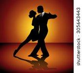 Man And Woman Dancing Tango....