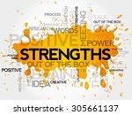 strengths word cloud  business... | Shutterstock .eps vector #305661137