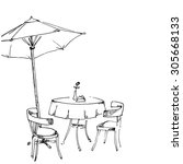 sketch vector street summer... | Shutterstock .eps vector #305668133