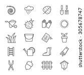 garden icons line   Shutterstock .eps vector #305678747