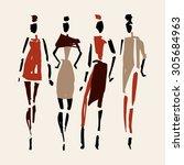 women. hand drawn fashion... | Shutterstock .eps vector #305684963