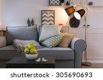 beautiful modern living room... | Shutterstock . vector #305690693