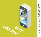 online shopping concept. e... | Shutterstock .eps vector #305691473