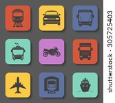 simple transport icons set.... | Shutterstock .eps vector #305725403