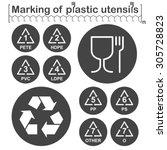 marking of plastic utensils... | Shutterstock .eps vector #305728823