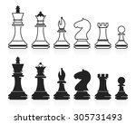 complete set of vector chess... | Shutterstock .eps vector #305731493