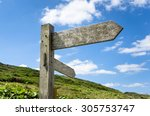 blank wooden direction signs...