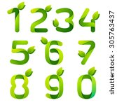 Numbers With Green Leaves Set....