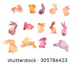 set of sweet happy rabbit... | Shutterstock . vector #305786423