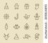 christmas icon set | Shutterstock .eps vector #305814893