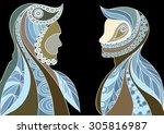 ethnic stylized patterned... | Shutterstock .eps vector #305816987