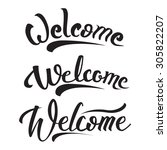 welcome hand lettering text... | Shutterstock .eps vector #305822207