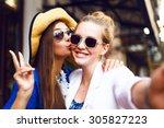 cute pretty girls making funny... | Shutterstock . vector #305827223
