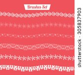 floral border pattern vector...   Shutterstock .eps vector #305837903