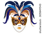 stylized old carnival mask of... | Shutterstock .eps vector #305849543