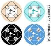 set of four colored flat simple ... | Shutterstock .eps vector #305858633