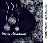 christmas background with balls ... | Shutterstock . vector #305859023