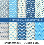 ten different retro seamless... | Shutterstock .eps vector #305861183