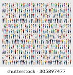 multiethnic casual people...   Shutterstock . vector #305897477
