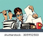 businessman working on papers.... | Shutterstock .eps vector #305952503