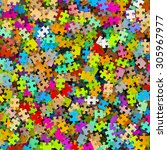 colored puzzle pieces heap  ... | Shutterstock . vector #305967977