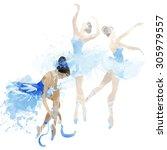 watercolor ballerinas dancing   Shutterstock . vector #305979557