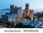 petrochemical industry on sunset | Shutterstock . vector #305983283