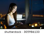 woman using digital tablet pc... | Shutterstock . vector #305986133